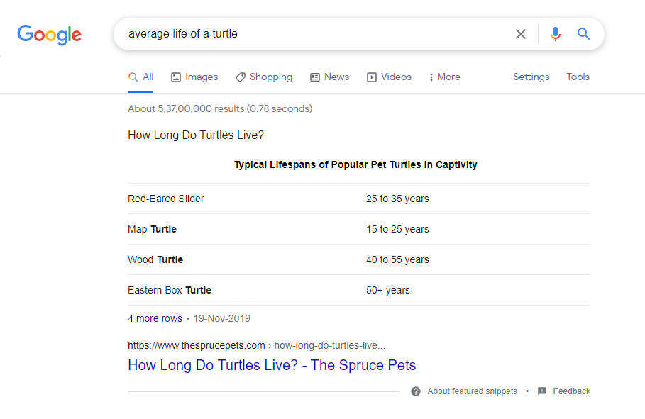 Google Search - Average Life Of A Turtle