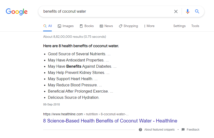 Google Search - Benefits of Coconut Water